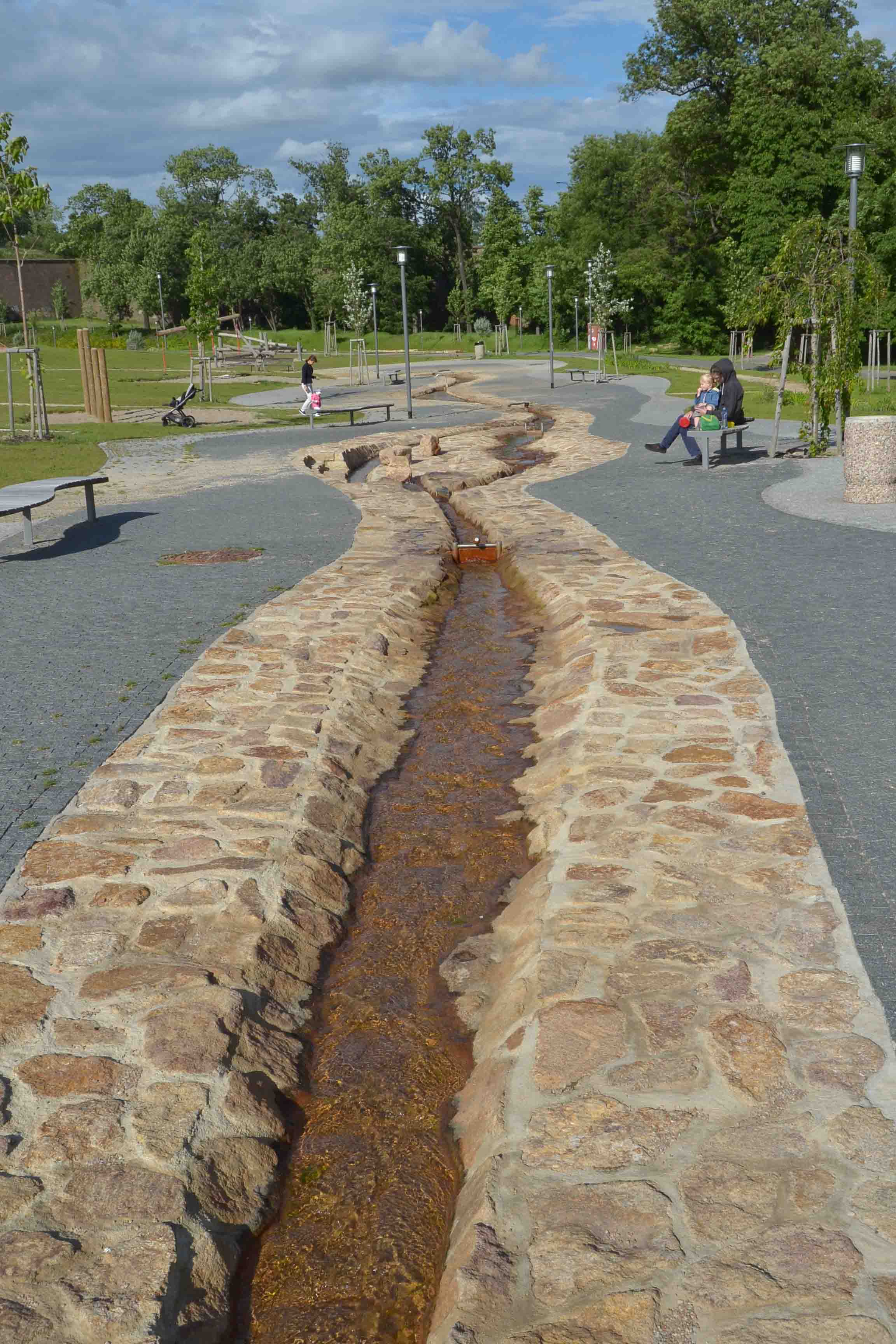 Beautiful long linear interactive water feature