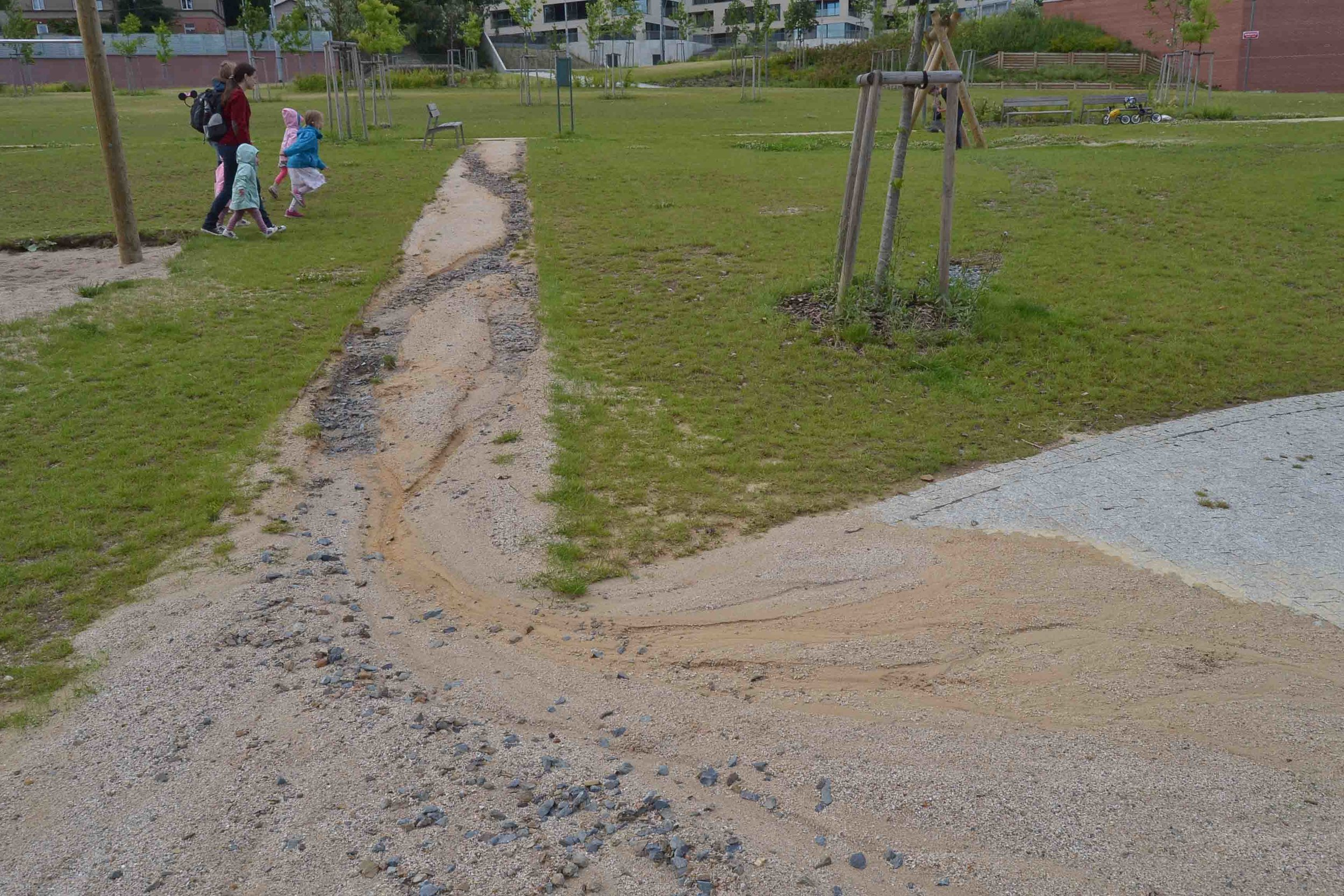 Pathways requiring some maintenance - gravel washed away by rain
