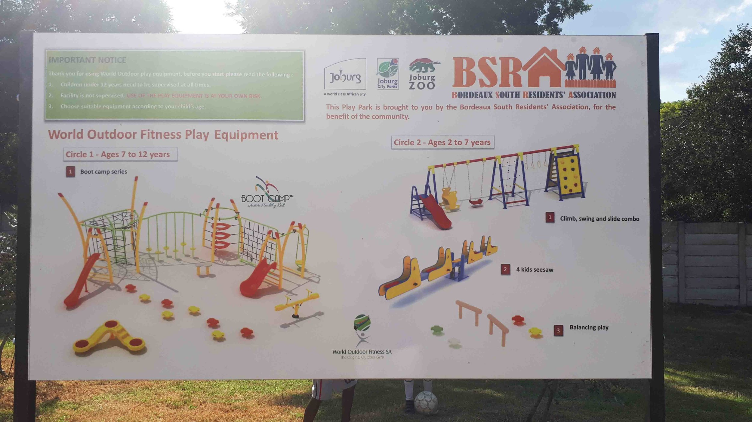 Signage indicates the appropriate ages for the play equipment