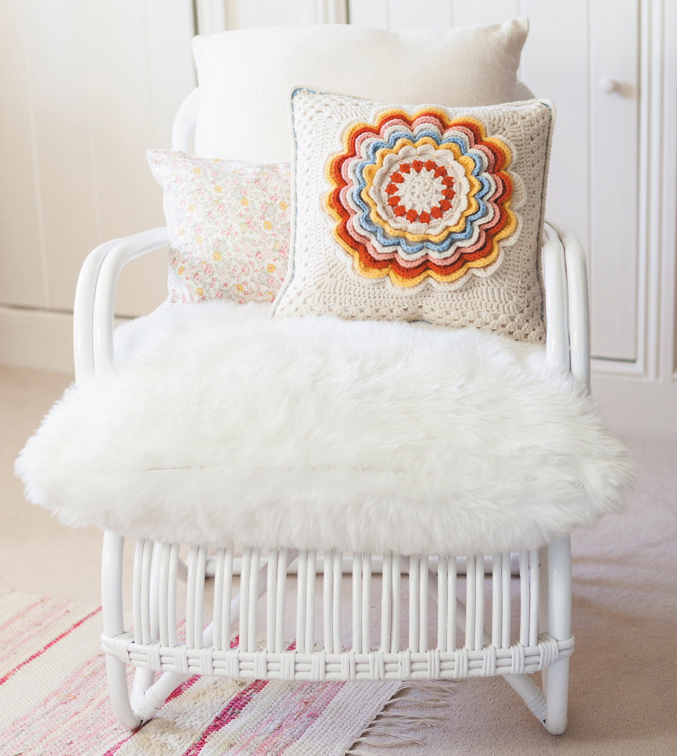 Fabulous Rose Cushion from Crochet Home by Emma Lamb