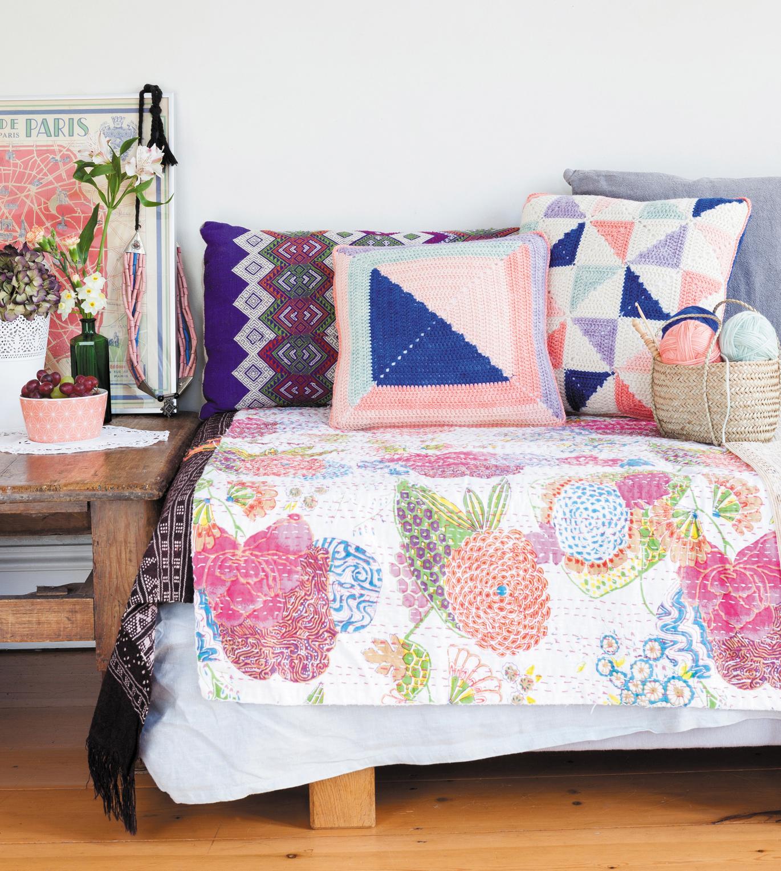 Pinwheel Patchwork Cushion & Log Cabin Cushion from Crochet Home by Emma Lamb