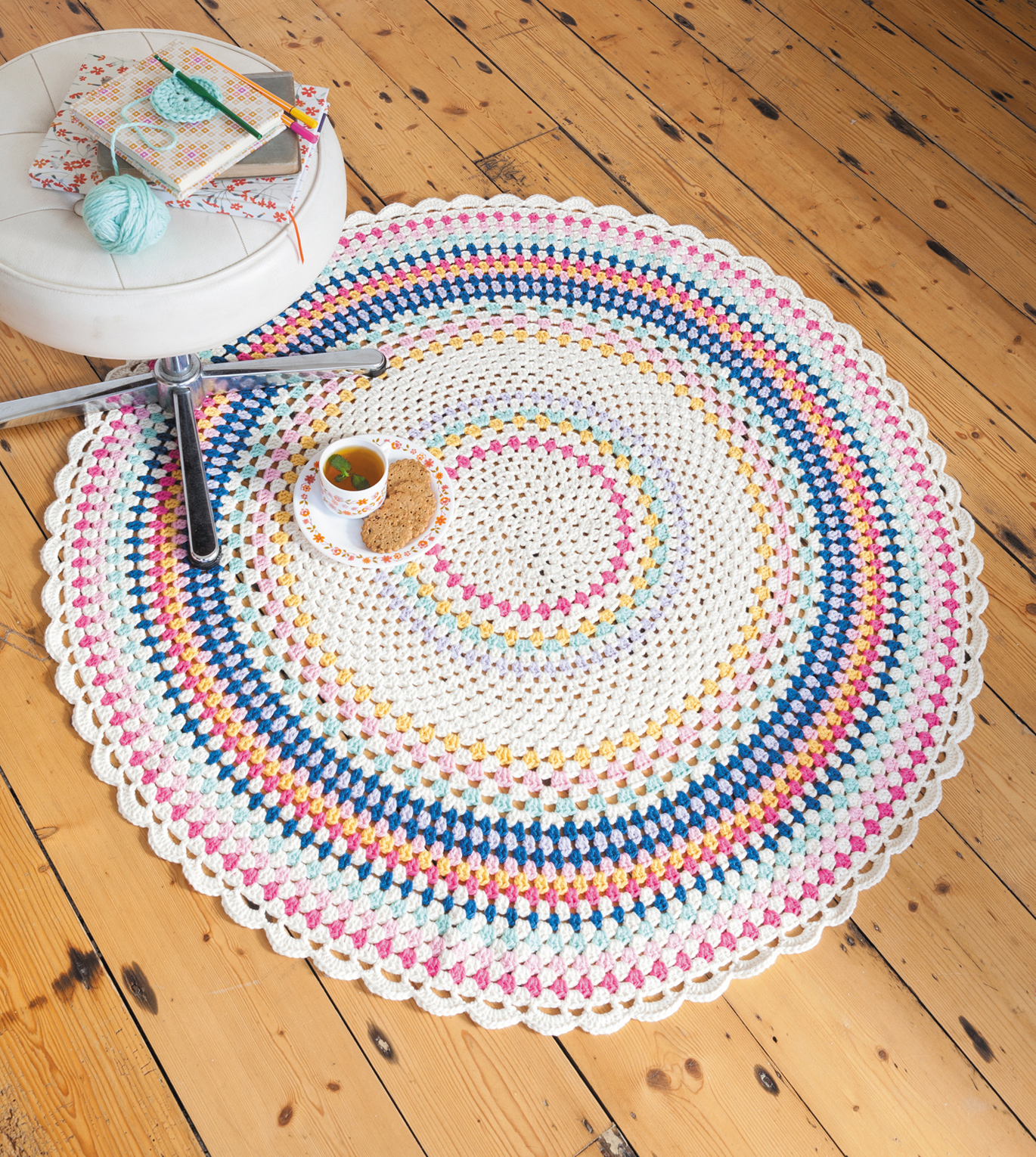 Scarborough Rock Floor Throw from Crochet Home by Emma Lamb