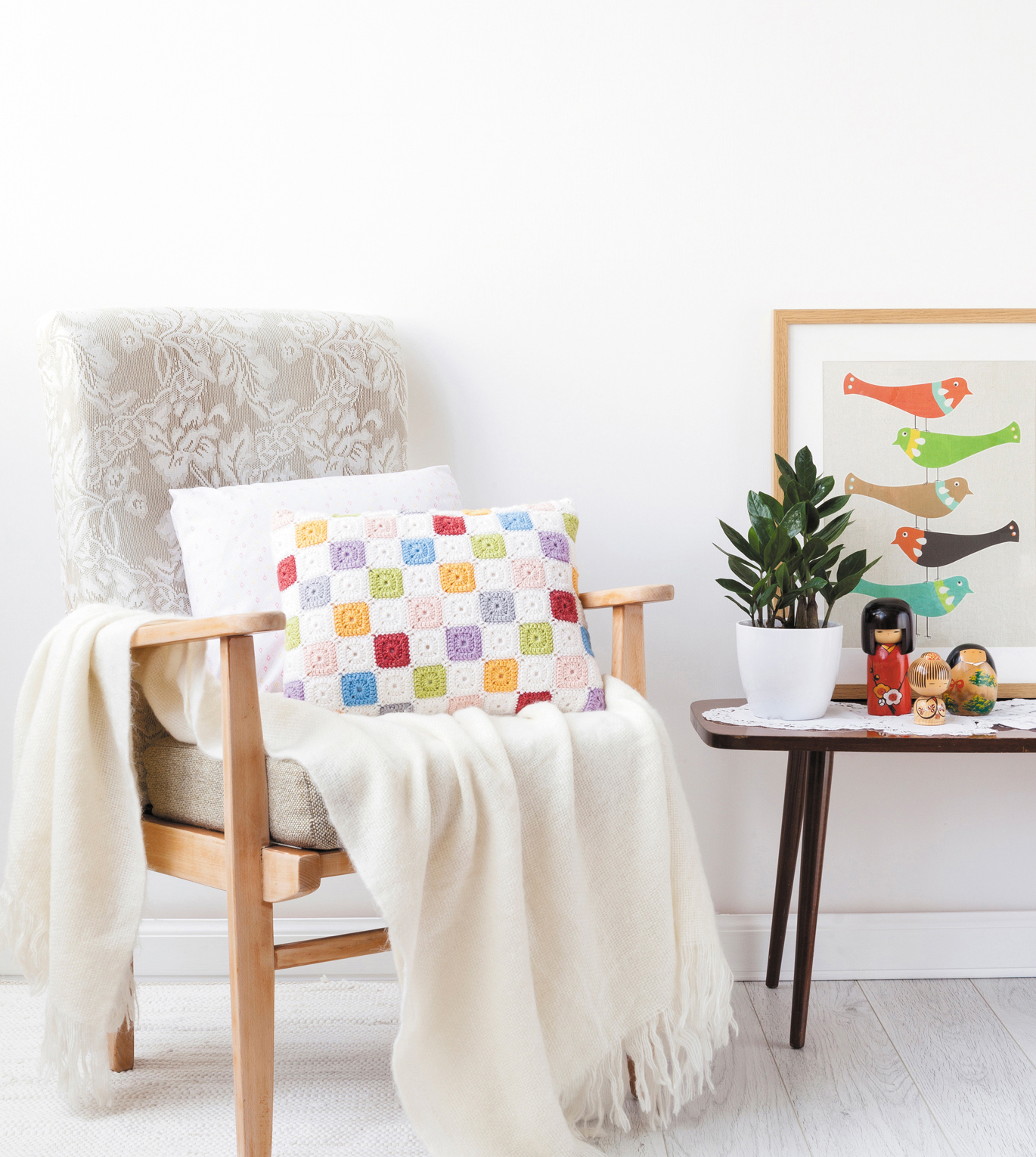 Tiny Squares Patchwork Cushion from Crochet Home by Emma Lamb