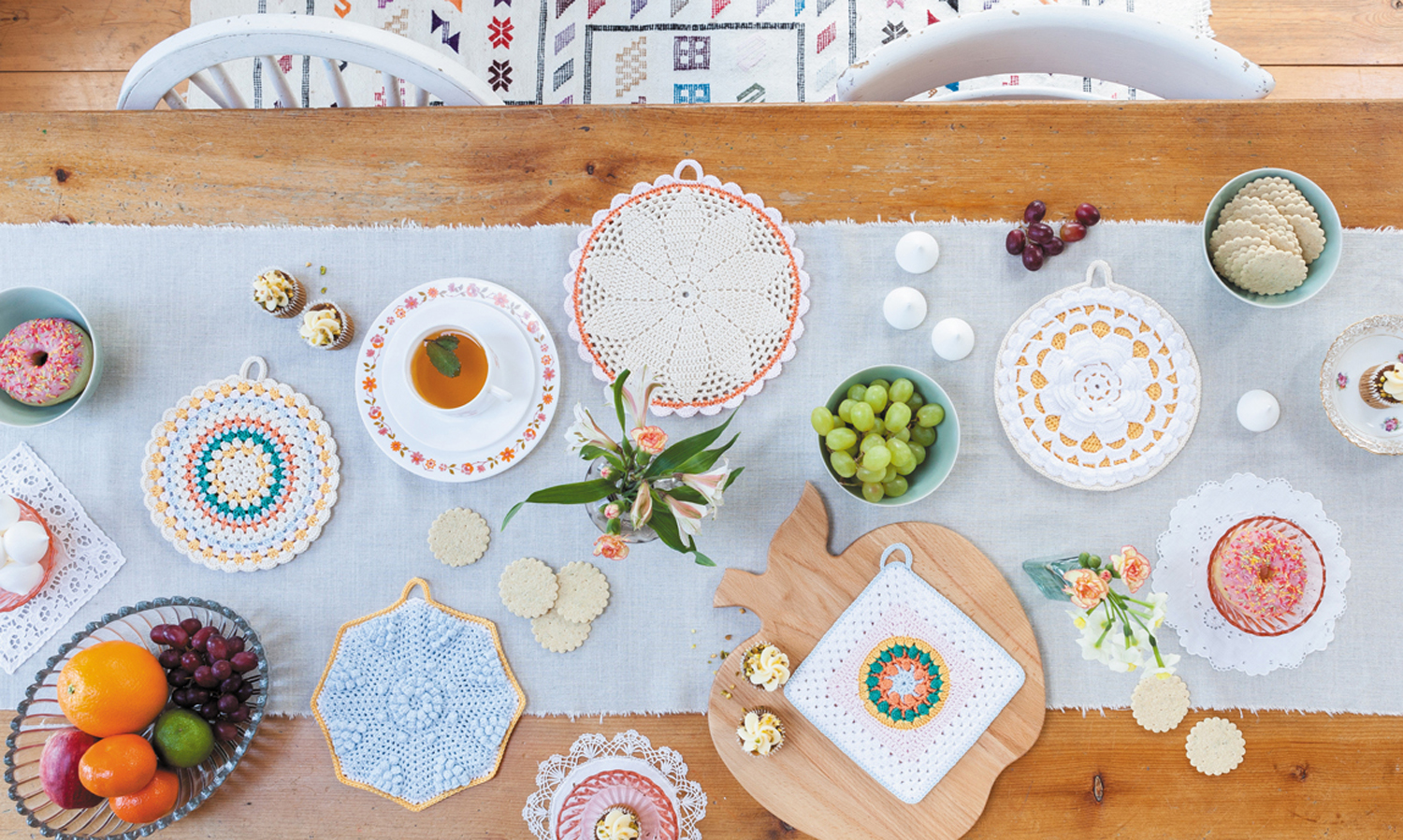 Potholders from Crochet Home by Emma Lamb | Crochet designs and styling by Emma Lamb / Photography by Jason M Jenkins