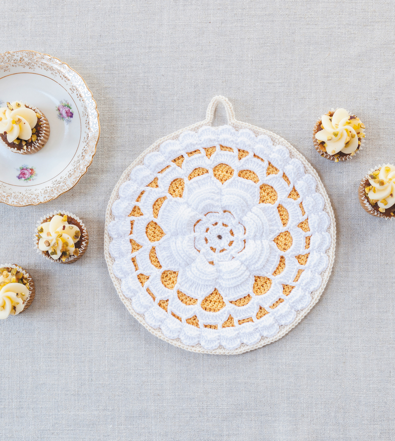 Fabulous Rose Pothlder from Crochet Home by Emma Lamb | Crochet designs and styling by Emma Lamb / Photography by Jason M Jenkins