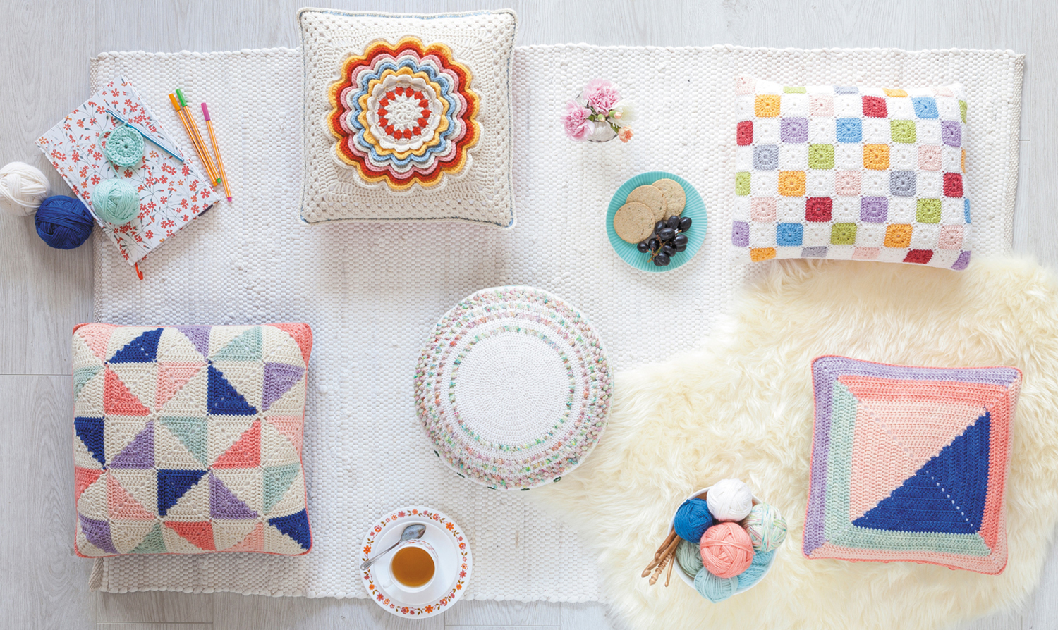 Cushions from Crochet Home by Emma Lamb | Crochet designs and styling by Emma Lamb / Photography by Jason M Jenkins