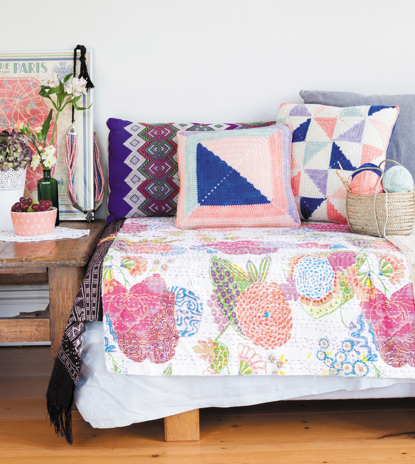 Pinwheel Patchwork Cushion & Log Cabin Cushion from Crochet Home by Emma Lamb | Crochet designs and styling by Emma Lamb / Photography by Jason M Jenkins