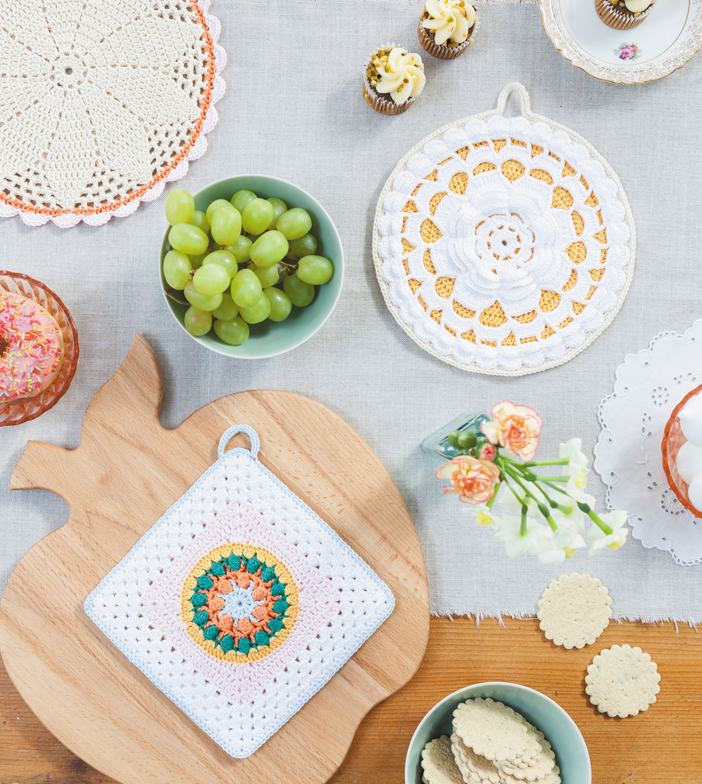 Potholder collection from Crochet Home by Emma Lamb | Crochet designs and styling by Emma Lamb / Photography by Jason M Jenkins