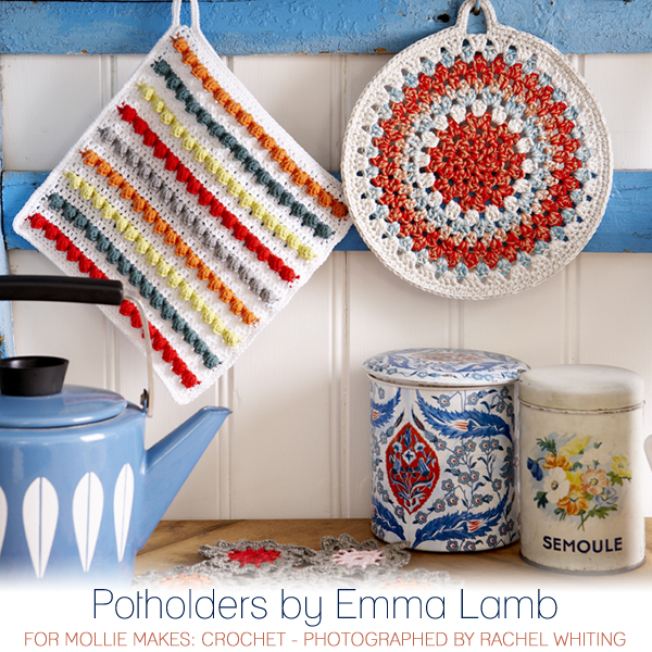 Potholders by Emma Lamb for Mollie Makes: Crochet - photographed by Rachel Whiting