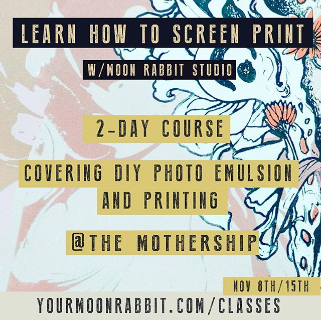 Learn how to expose and print your own imagery in my two part screen printing course! You'll leave the class with awesome prints of your creation and all the knowledge and experience needed to start printing at home.  Link in bio. Few spots left!
