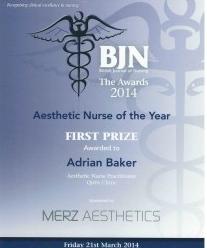 Nurse Adrian Baker Award Certificate