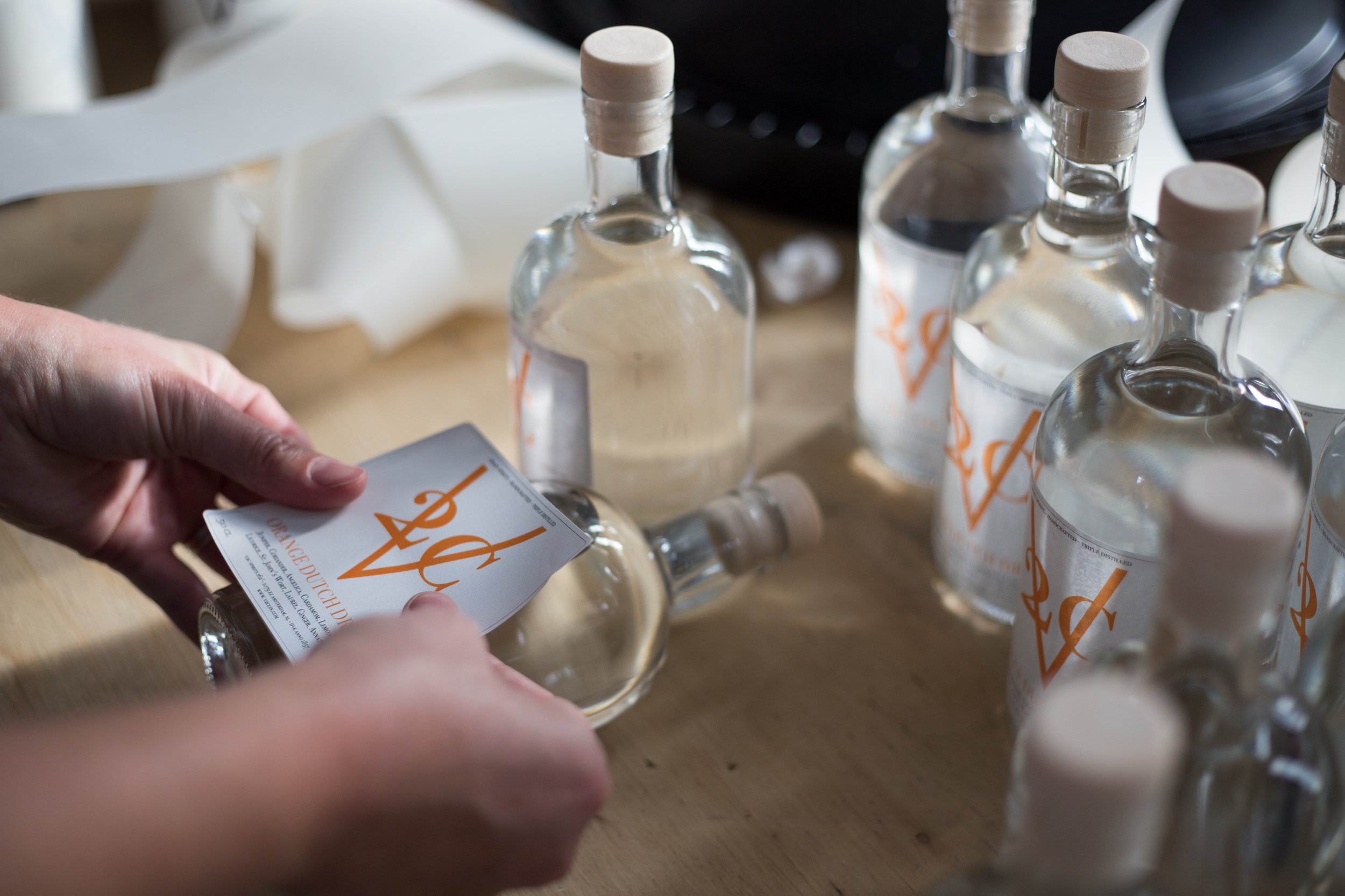 Applying the labels by hand.