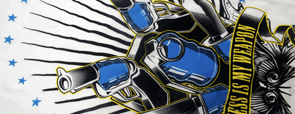 Plastisol printing is considered the industry standard for textile printing. The ink sits on top of the fabric, allowing the colors to be bright and vibrant for many washes, though it does have a thicker feel than other printing techniques. Plastisol inks can be easily matched to any Pantone number and allow for a variety of additives to create softer prints or specialty finishes.
