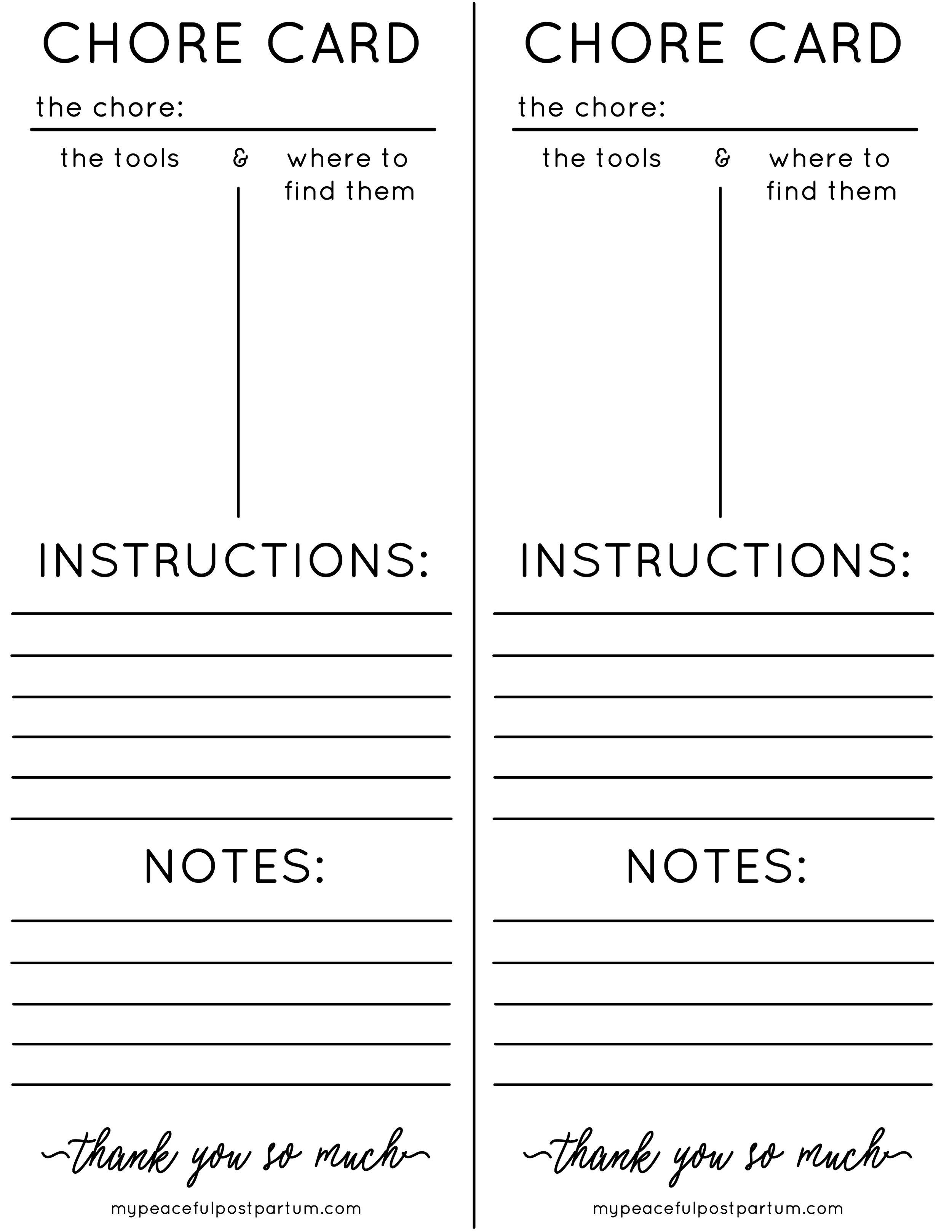 Make the Most of Postpartum Visitors Free Printable Chore Card (Black & White)