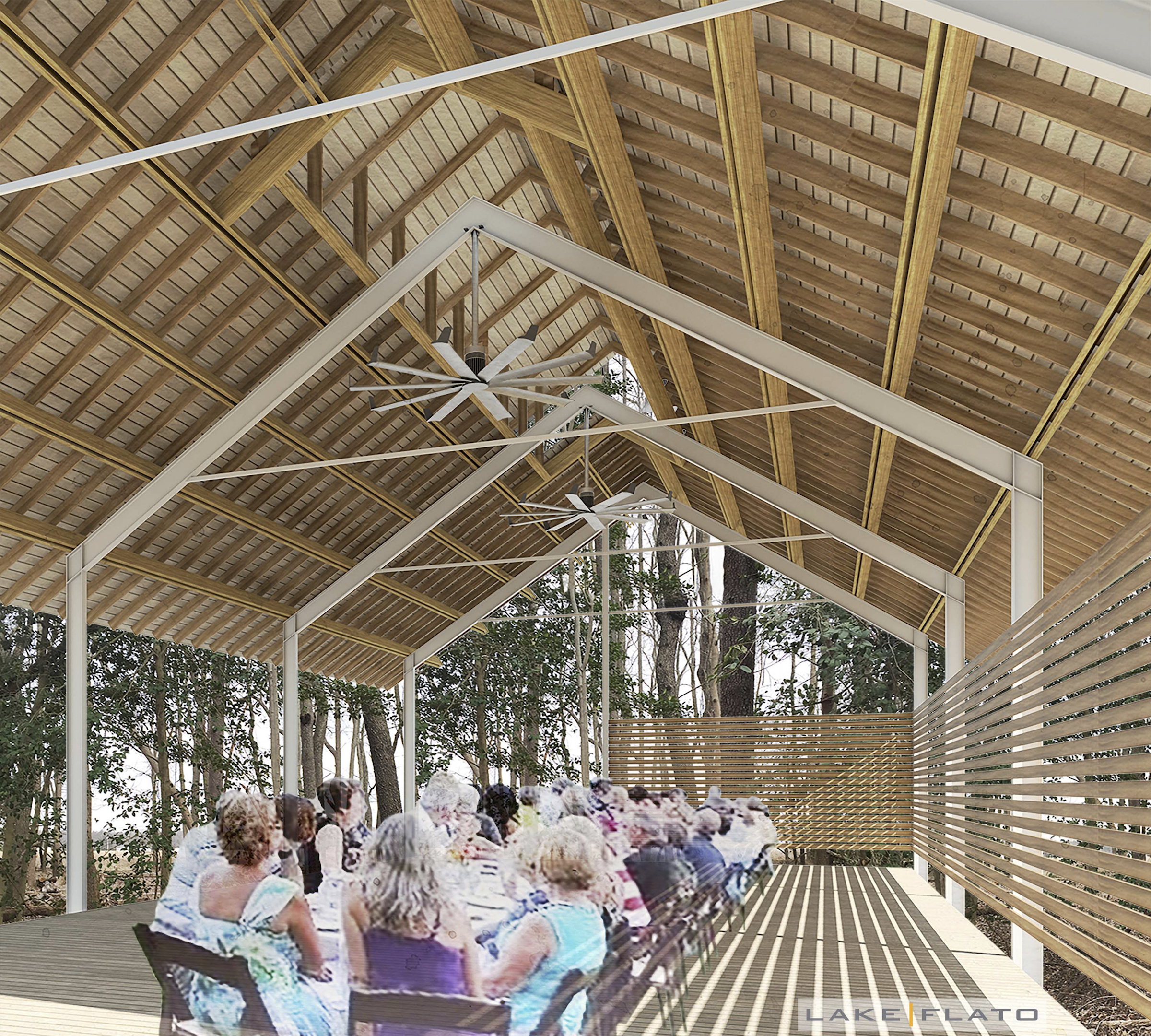 The open-air woodland pavilion, linked to the visitor center all under one roof, projects into part of the garden's 12.5-acre native forest.