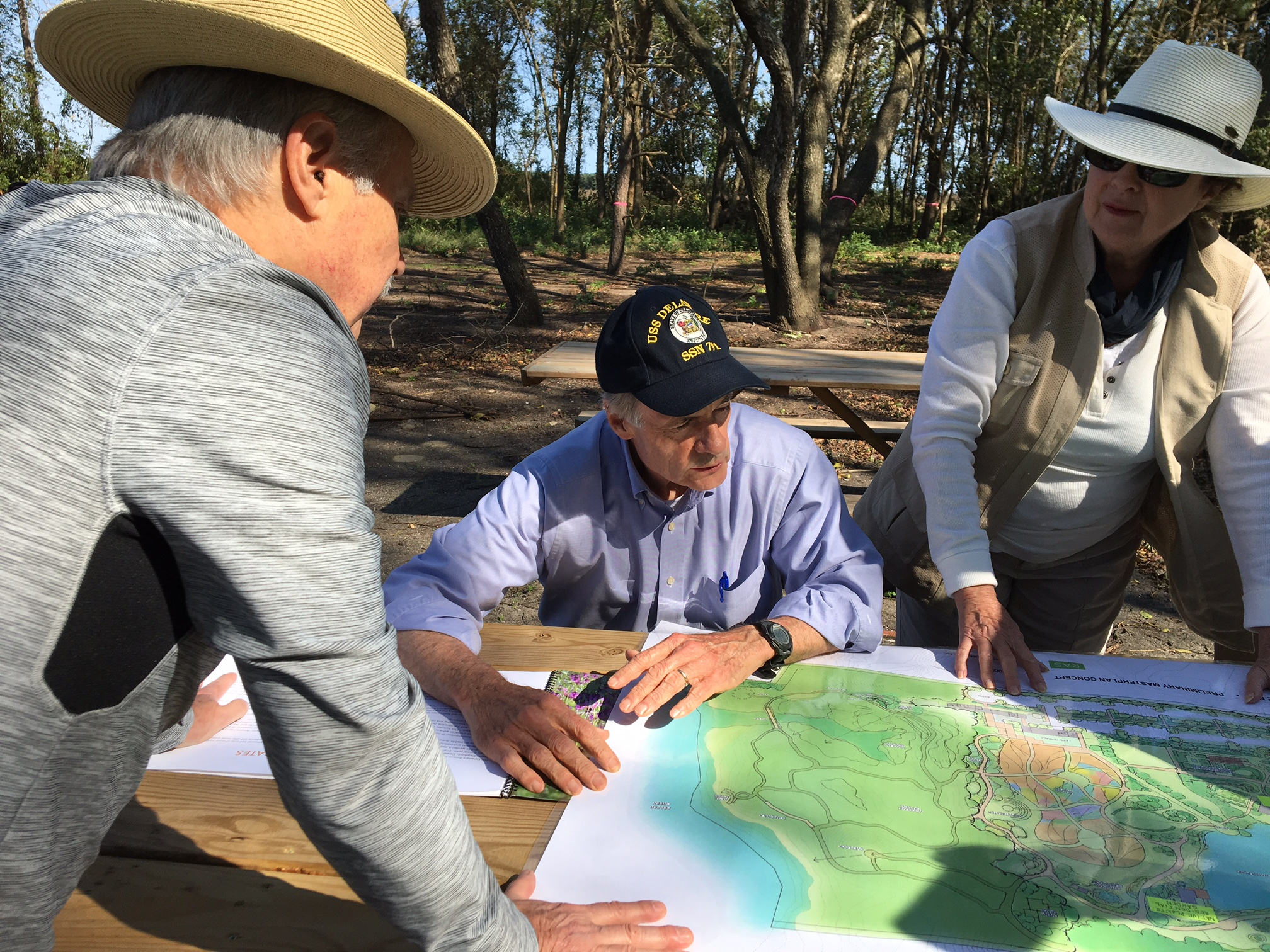 U.S. Senator Tom Carper of Delaware came out to the garden site on October 24. He stopped near the Woodland Gardens to view the site plan with Vice President Ray Sander and Executive Director Sheryl Swed, then followed the pathways down to Pepper Creek.