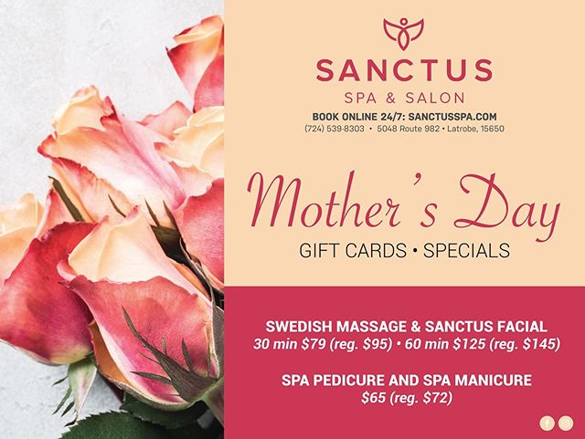 "No clue what to get for your mom this mother's day? Why not grab a Sanctus Gift Card so she can unwind and relax! Also, check out our Mother's Day Specials for this month! . . . ""As a mother comforts her child, so will I comfort you"" - Isaiah 66:13"