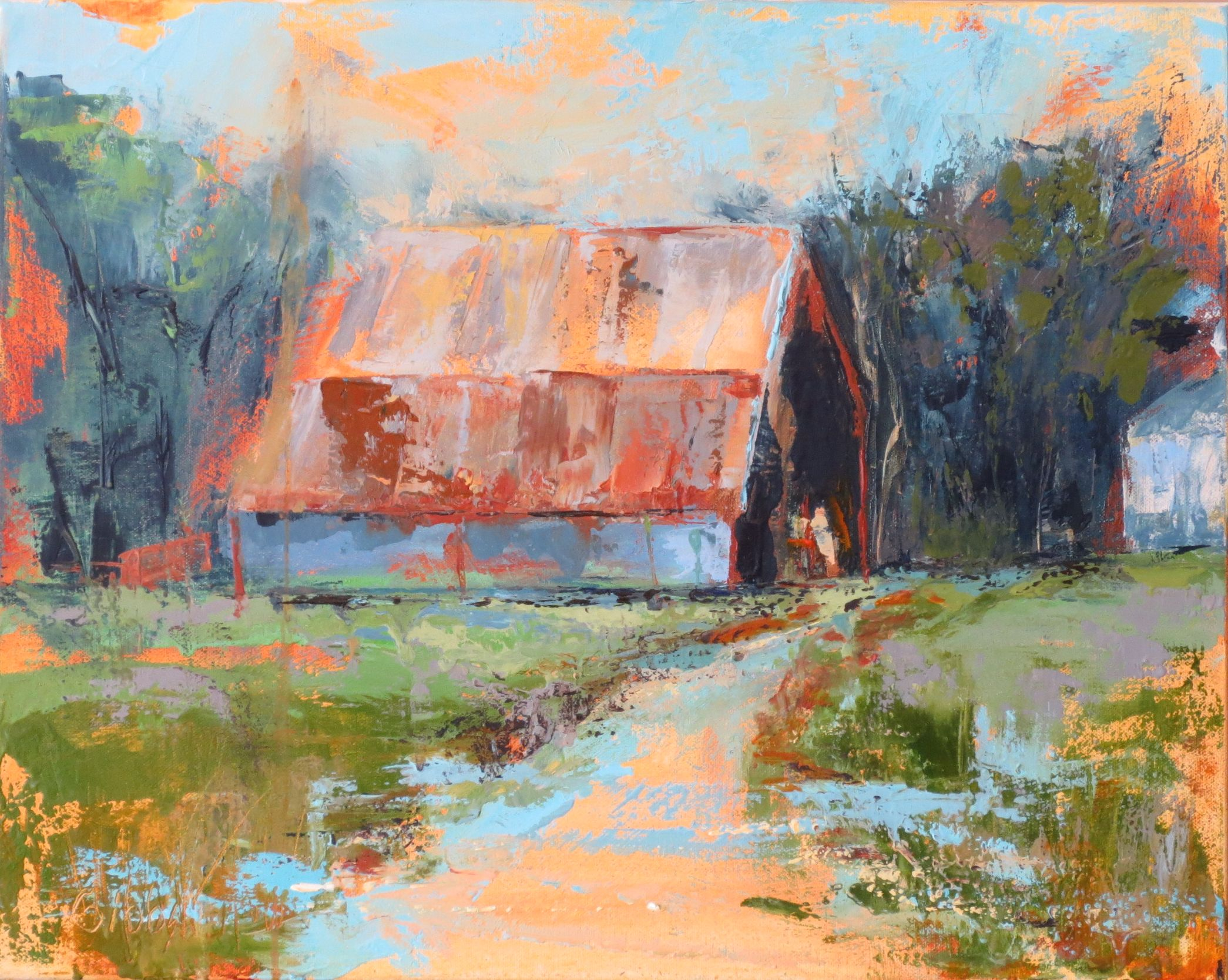 """Stowers Barn 3"", Oil on Canvas, 24x24"