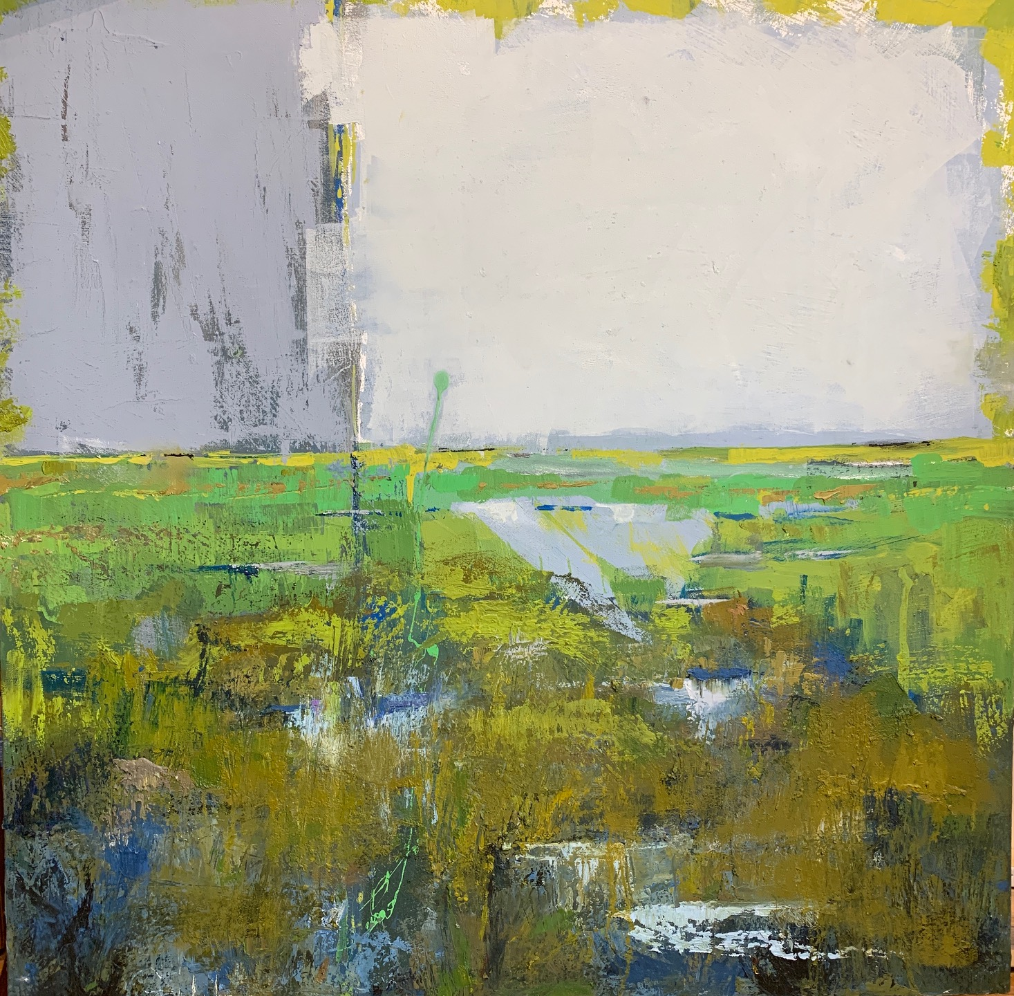 Rain on the Marsh, Mixed Media, 36 x 36
