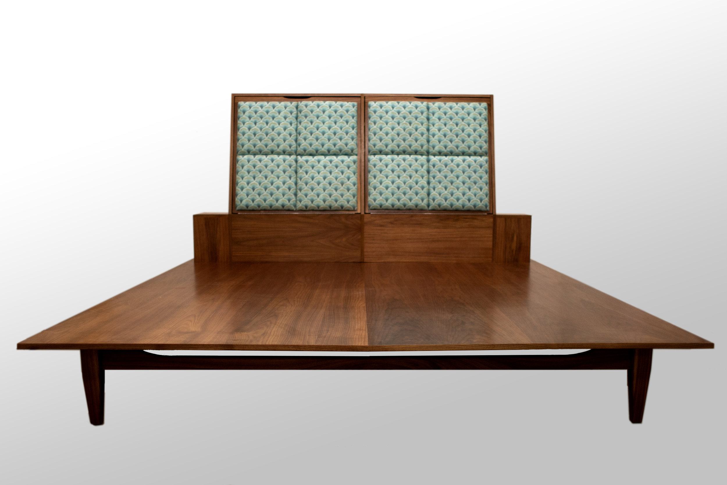 Walnut Platform King Bed With Side Drawers and Headboard Storage