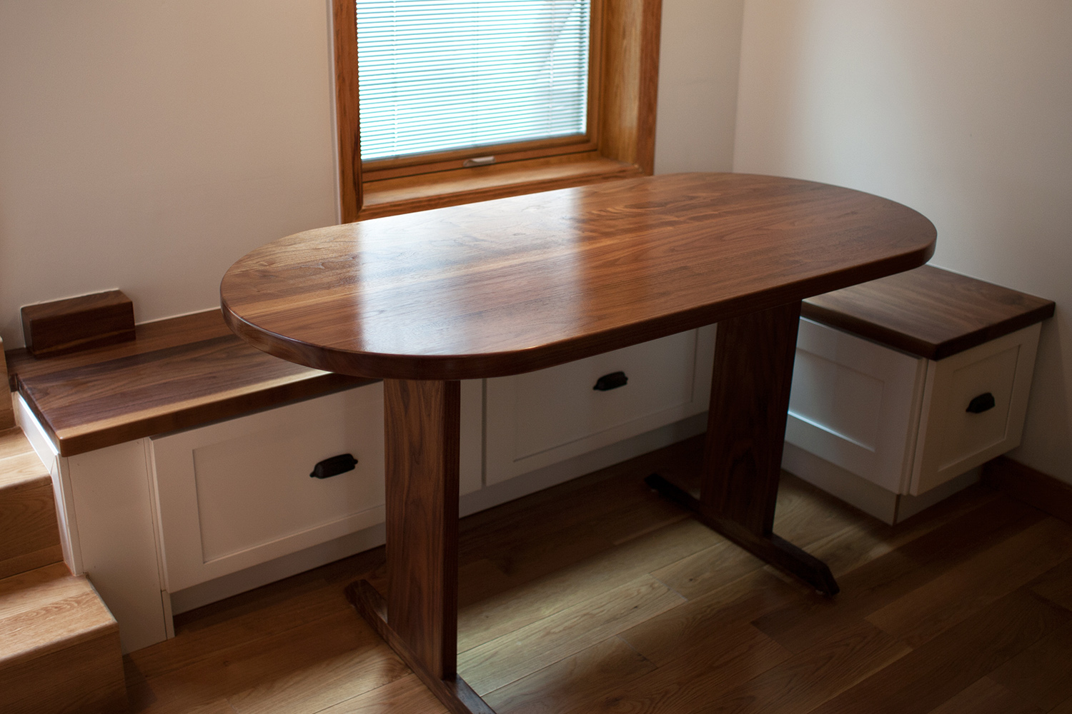 Walnut Table and Built-In Bench