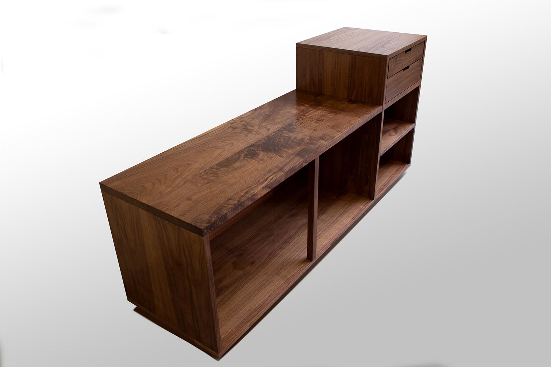 Walnut Bench with Side Storage