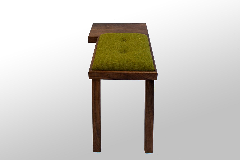 The Raymond Bench Walnut with Green Wool Tweed