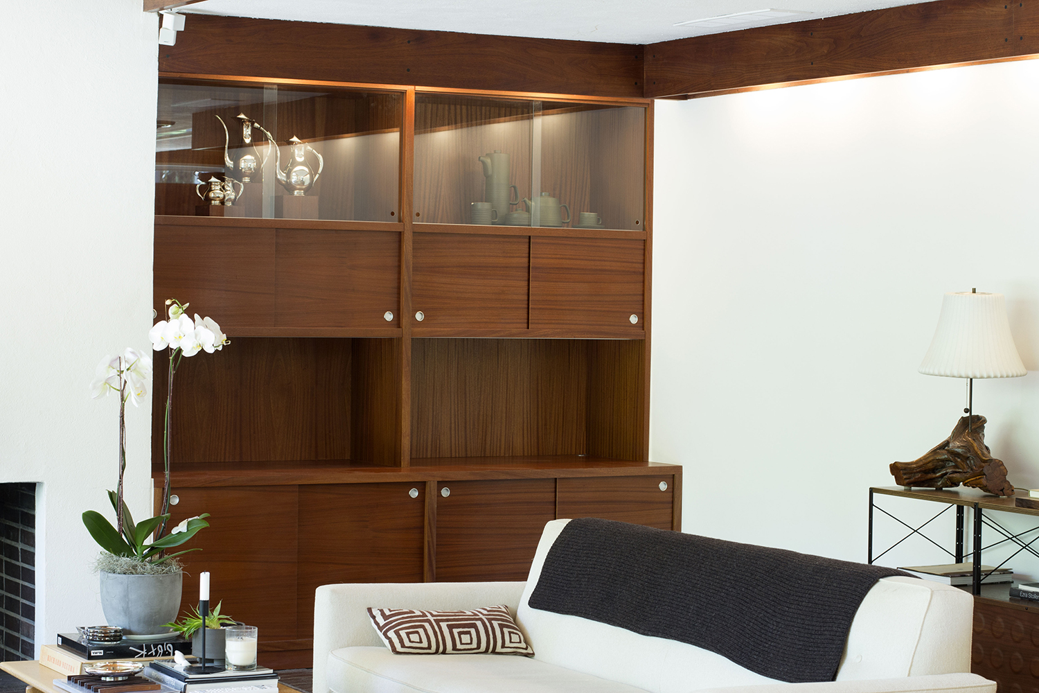 Philippine Mahogany Cabinet with sliding glass doors and LED lighting