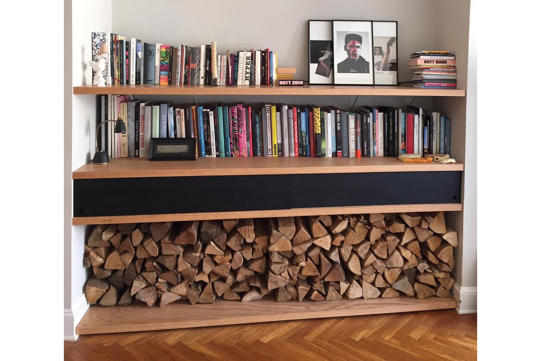 Oak Shelves with Sliding Doors