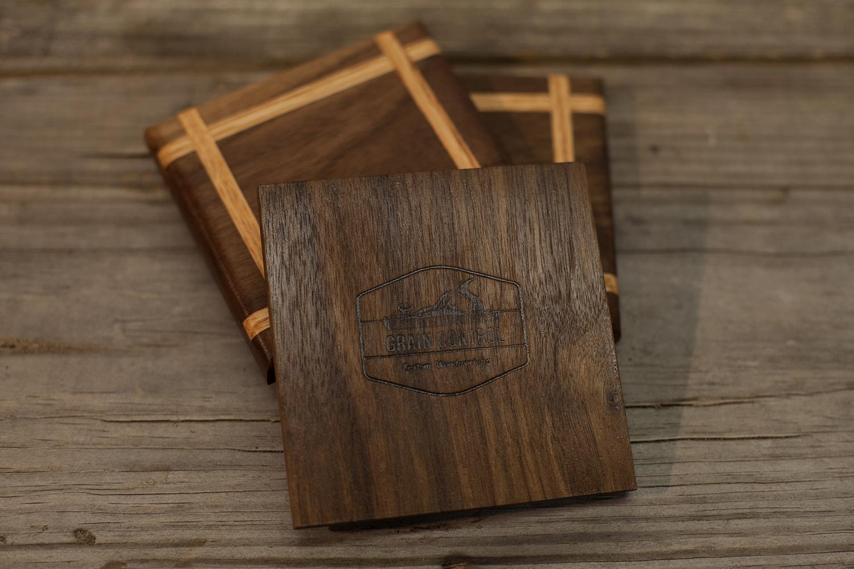Walnut Coaster with Red Oak Inlay
