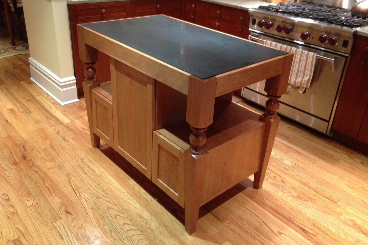 Cherry and black marble Kitchen Island