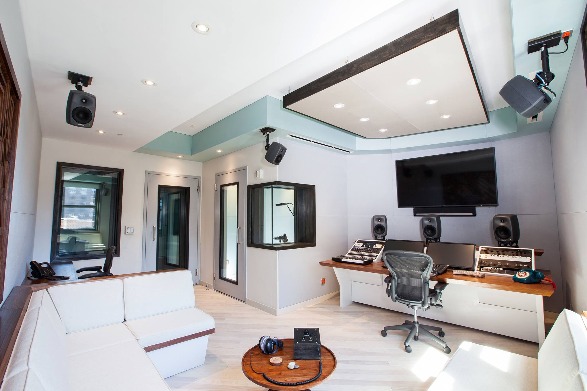 recording studio desk console and Walnut banquette