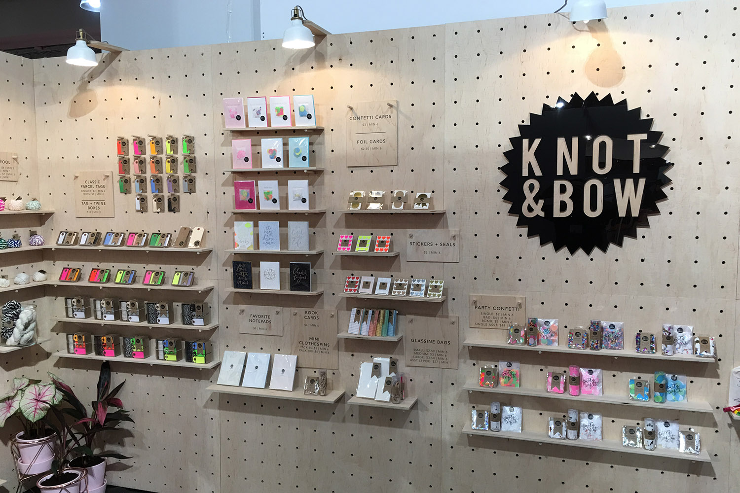 Handmade pegboard panels were fabricated for Knot & Bow for use at trade shows