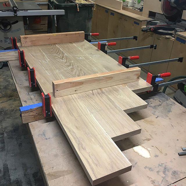Gluing up some white oak for L desks.