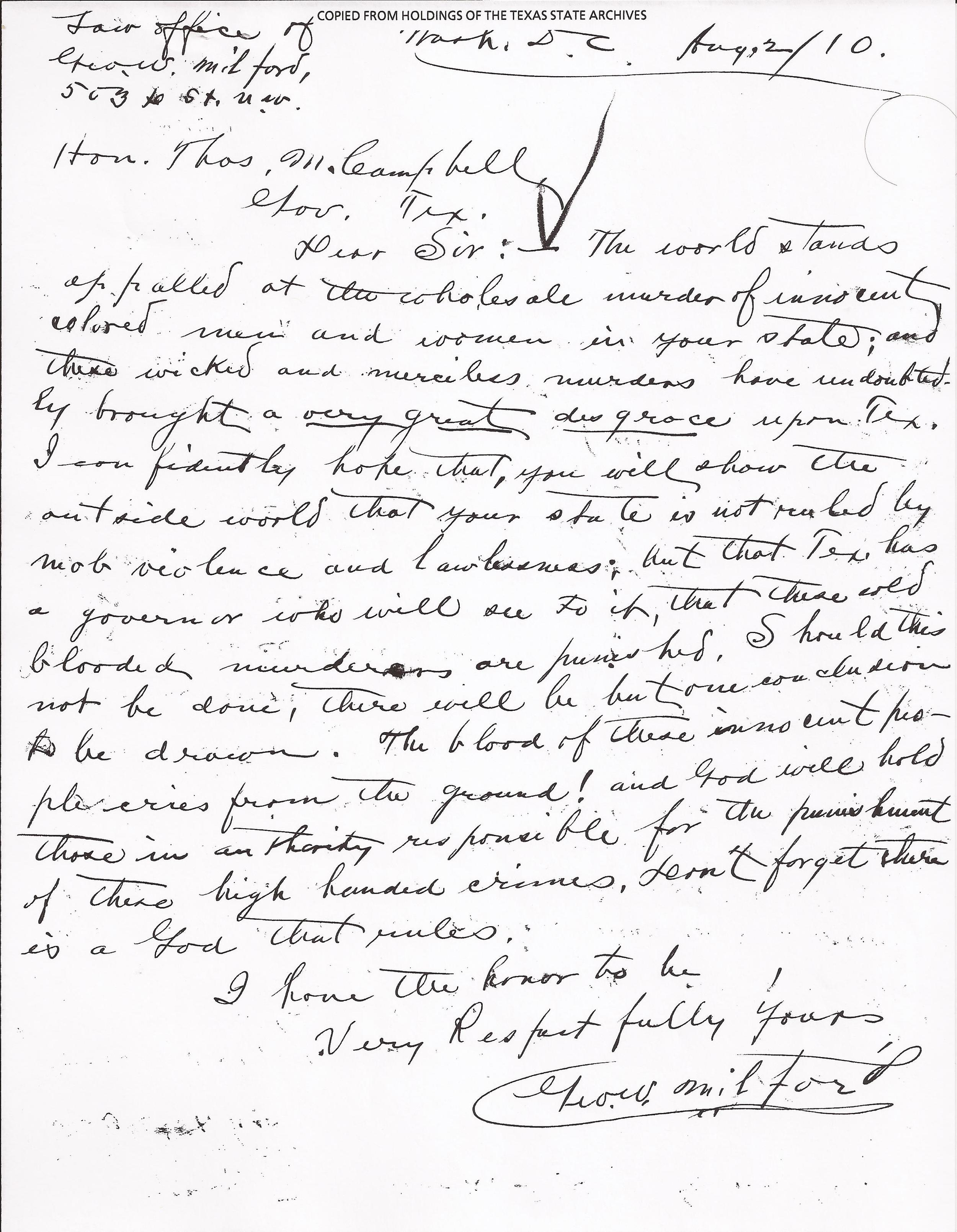 G. Milford to Governor Campbell, August 2, 1910 (Records, Texas Governor Thomas Mitchell Campbell.  Archives and Information Services Division, Texas State Library and Archives Commission)
