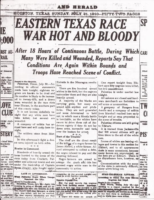 """Eastern Texas Race War Hot and Bloody"" July 31, 1910 (Page 1) (Houston Chronicle and Herald)"