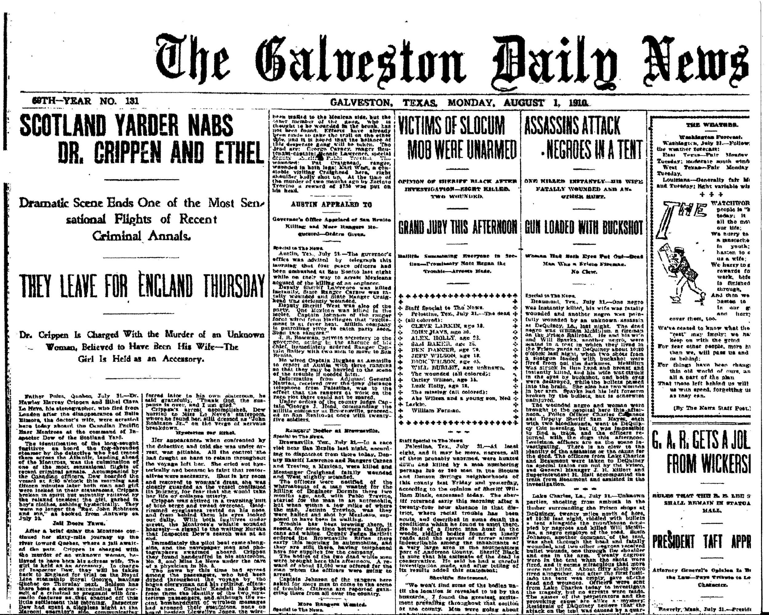 """Victims of Slocum Mob Were Unarmed"" August 1, 1910 (Galveston Daily News)"