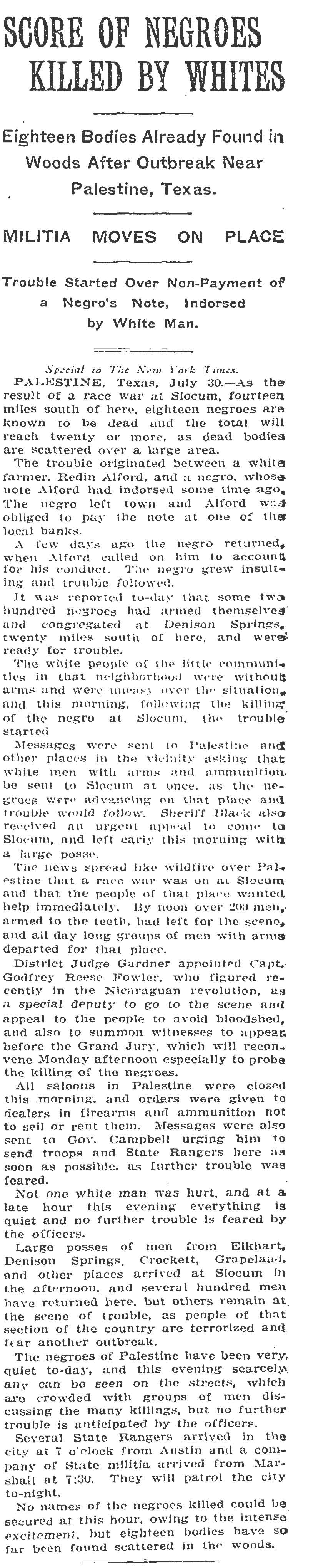 """Scores of Negroes Killed by Whites"" July 31, 1910 (Page 1) (New York Times)"