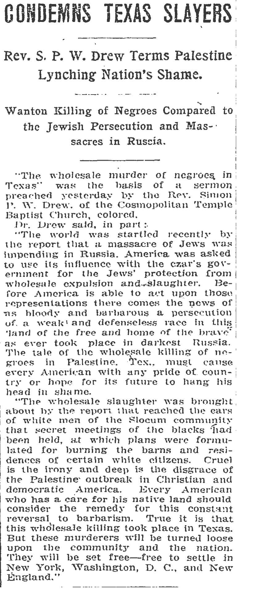 """Condemns Texas Slayers"" August 8,1910 (Page 12) (The Washington Post)"
