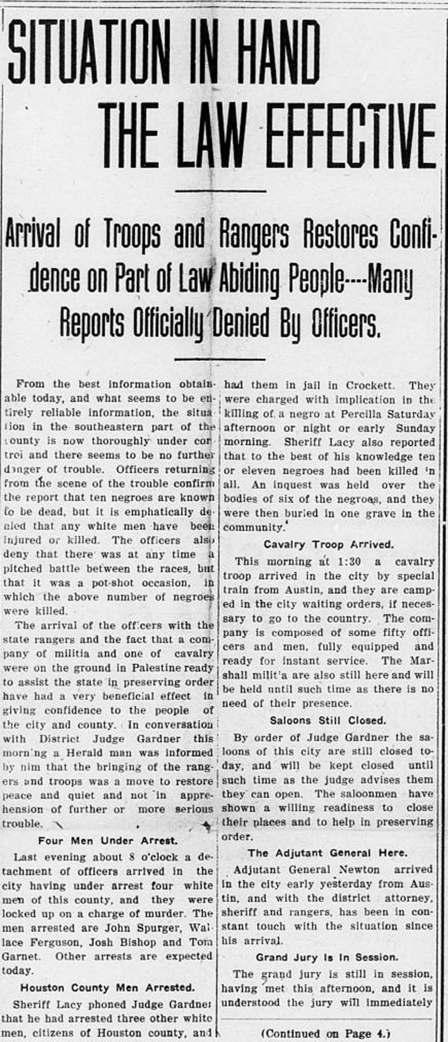 """Situation in Hand the Law Effective"" August 1, 1910 (Page 1) (Palestine Daily Herald)  (University of North Texas Libraries, The Portal to Texas History)"