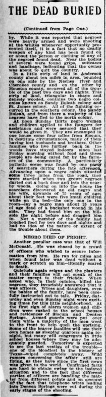 """The Dead Buried"" August 1, 1910 (Page 2) (The Houston Post) (University of North Texas Libraries, The Portal to Texas History, Originally from Abilene Library Consortium)"
