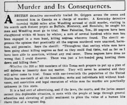 "Editorial, ""Murder and Its Consequences"" August 1, 1910 (Page 6) (The El Paso Herald) (University of North Texas Libraries, The Portal to Texas History)"