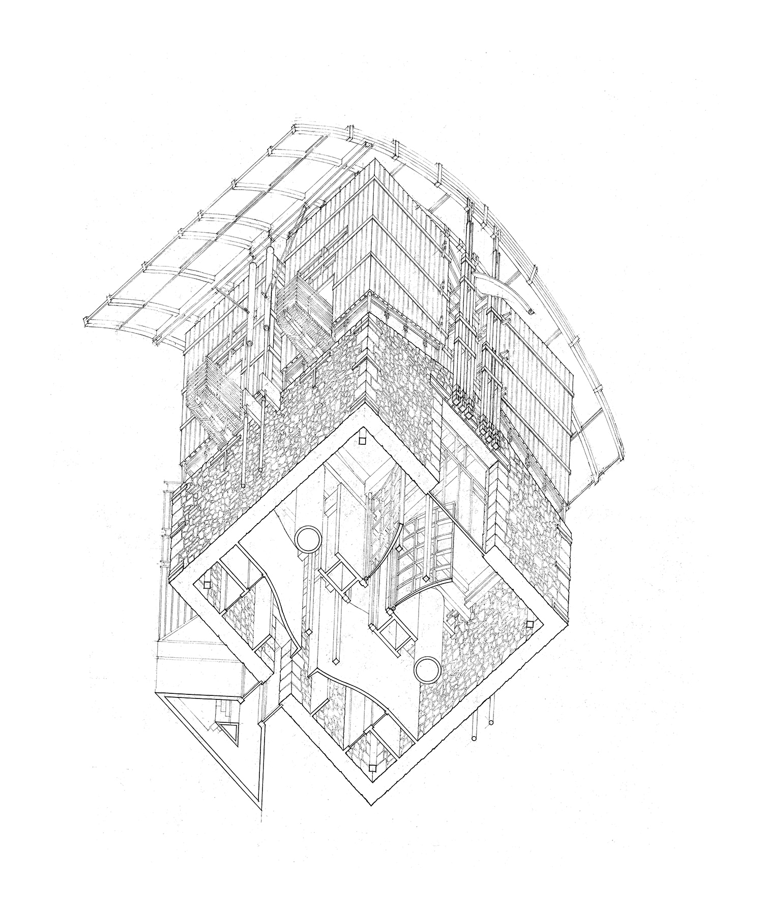 Worms Eye Axonometric Drawing