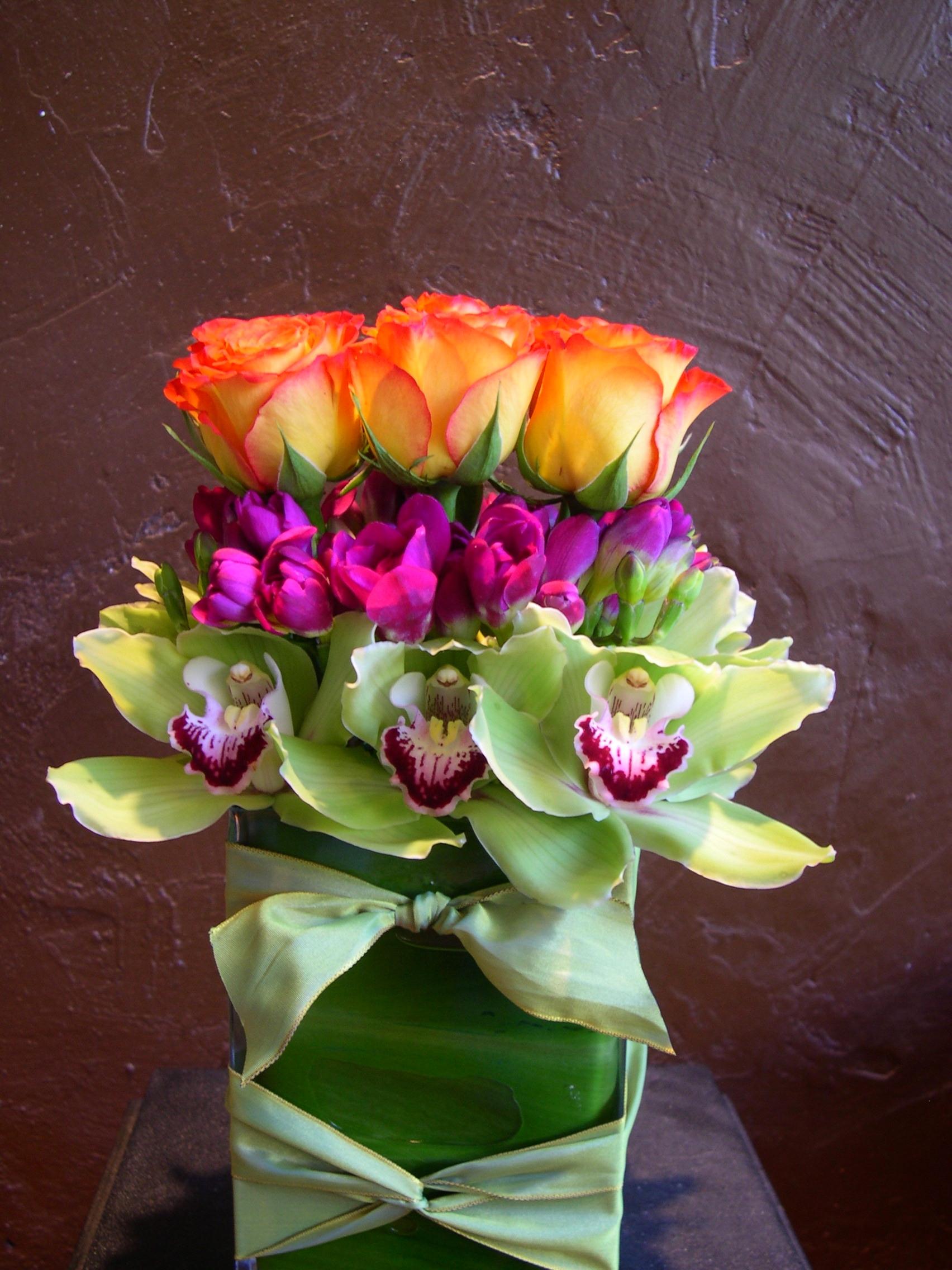 Orange Roses & Orchids