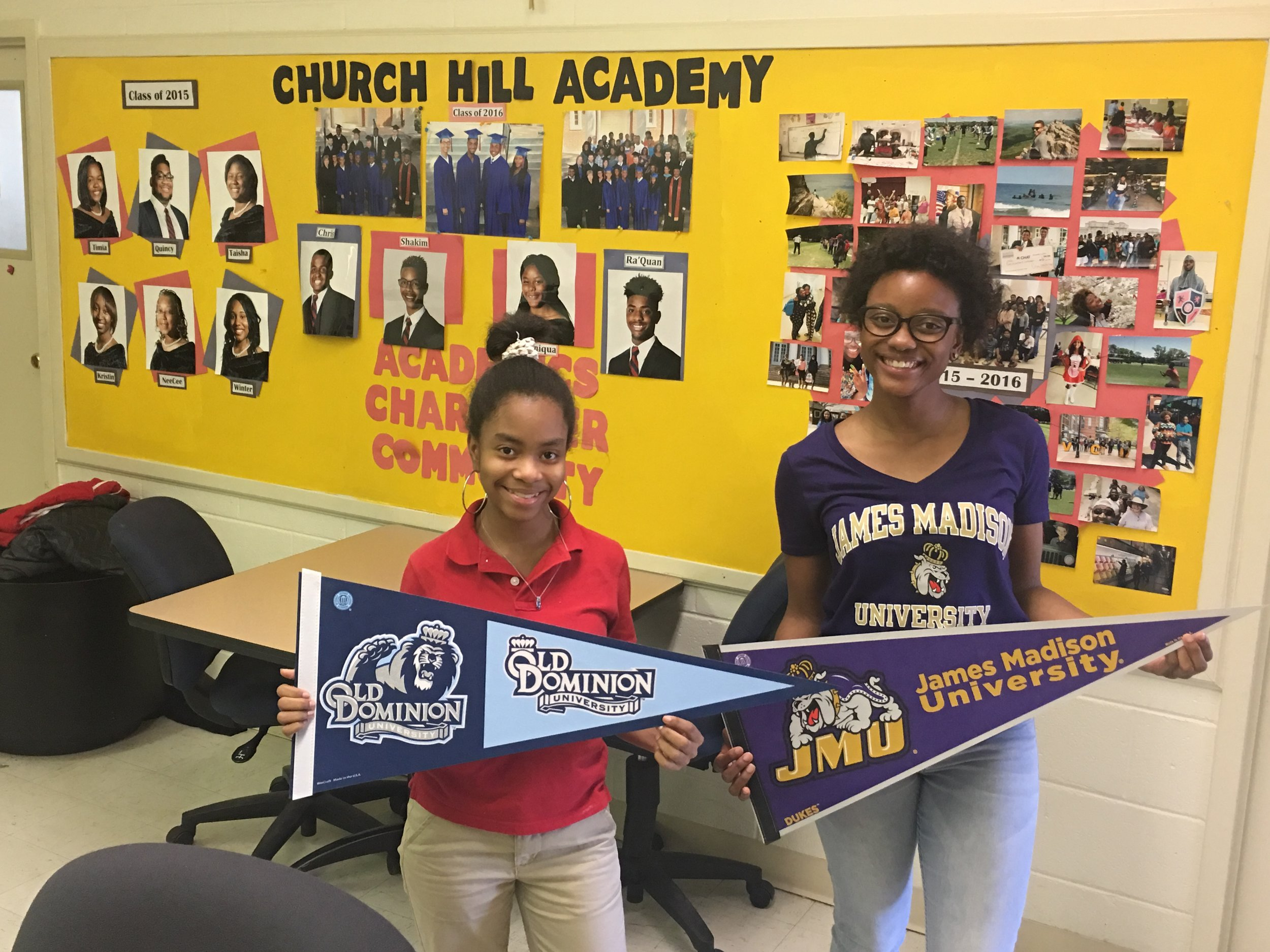 Church Hill Academy Seniors, Diamond Bennett (left) and Ashawrie White (right) show off their college selections.