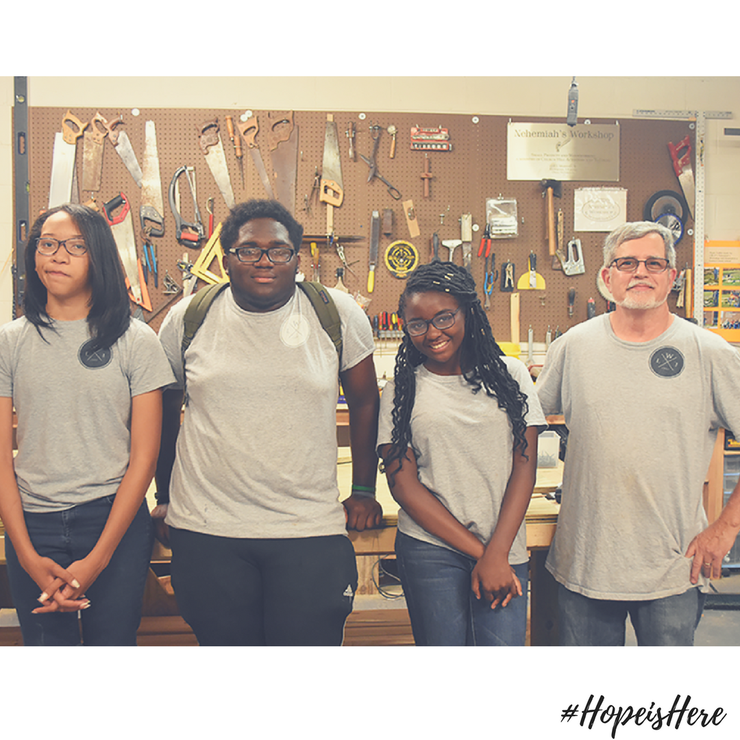 (From right to left) Erica, Jaden, Imani, and Steve in the Workshop last summer