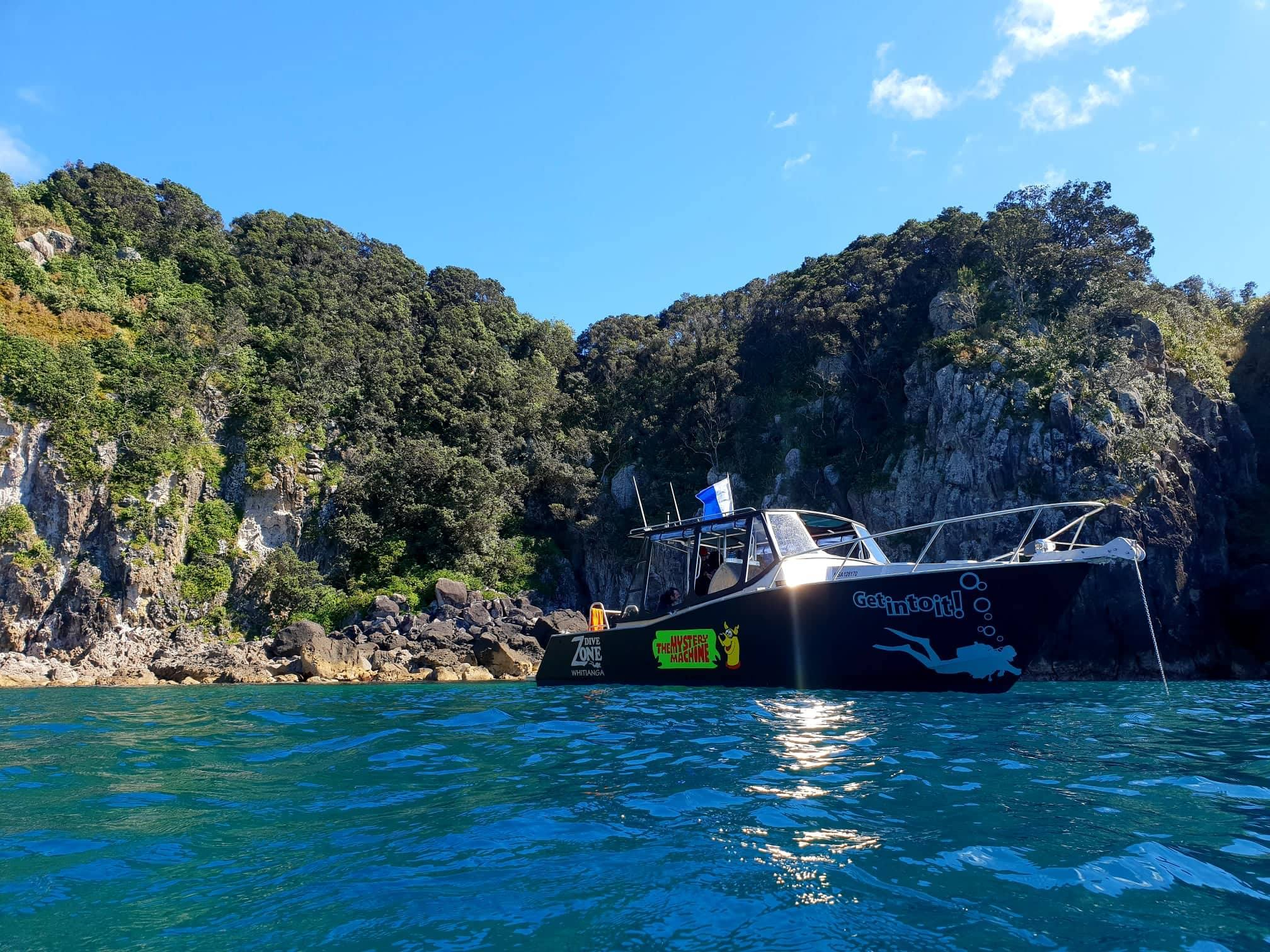 Dive Zone Whitianga - Get into it! The Coromandel's scuba diving experts, with a huge full service PADI 5 star dive shop, PADI scuba diving training courses and daily dive trips to some of the Coromandel's best dive sites. Check out more