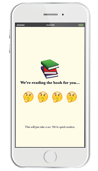 """3. The app """"reads"""" the book, so you don't have to."""