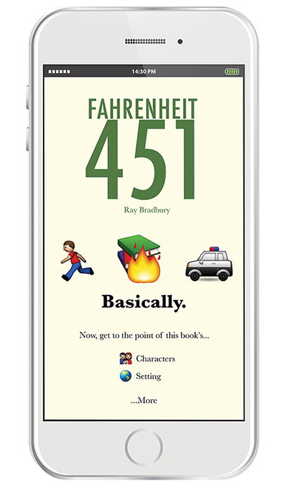 (Users are also given the option to learn more about the book's characters,settings,themes,and more.)   4. In moments, you have the premise of the book,in emoji, of course.