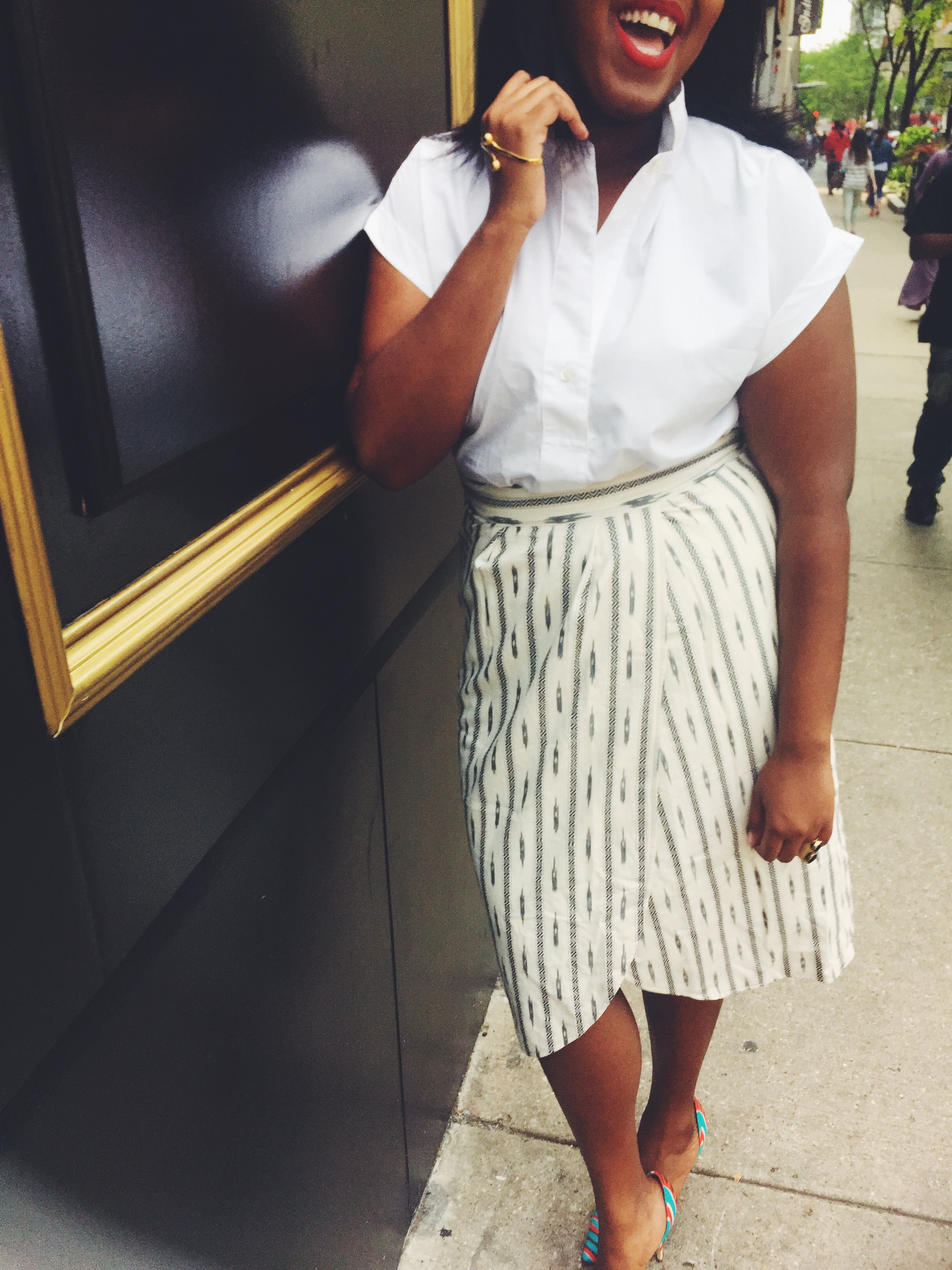Jcrew Faux-wrap skirt in ivory ikat Elsie fabric d'orsay pumps Jcrew short sleeve popover shirt that hayet rida 1 .jpeg